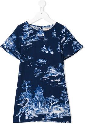 Nice Things China print short-sleeve dress