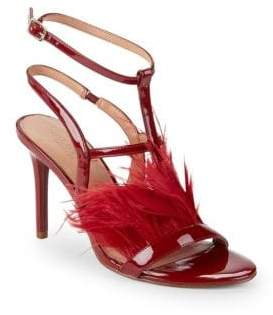 Halston Tasha Feather & Leather Ankle-Strap Sandals