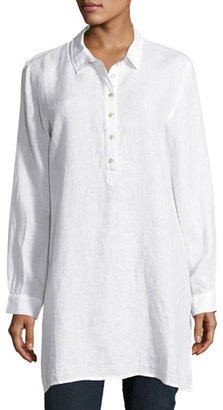 Eileen Fisher Long-Sleeve Collared Henley Linen Tunic $228 thestylecure.com