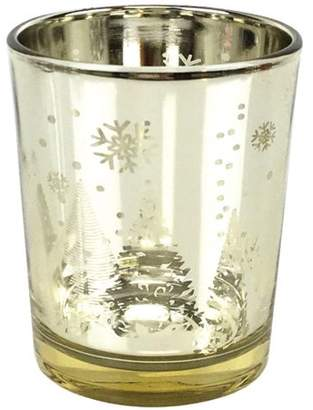 "Just Artifacts Christmas Metallic Votive Candle Holder 2.75"" H - Gold Winter Wonderland (Set of 25) - Glass Votive Candle Holders for Weddings and Home Decor"