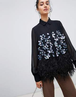 Lost Ink shirt with floral sequin embellishment and faux feather trim