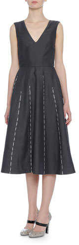 Bottega Veneta Bottega Veneta Sleeveless Embroidered Linen Dress, Dark Gray