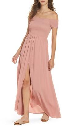 Tularosa Women's Henderson Print Off The Shoulder Maxi Dress