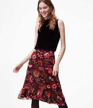LOFT Floral Ruffle Skirt