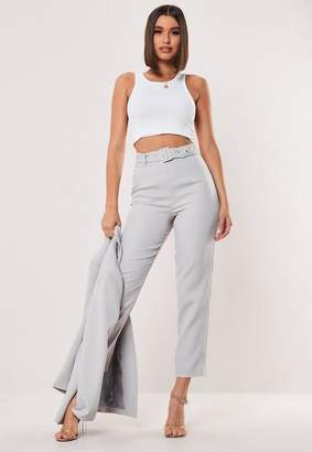 Missguided Grey Co Ord Belted Cigarette Trousers