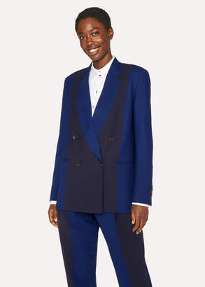 Paul Smith Women's Navy And Cobalt Blue Double-Breasted Wool Blazer