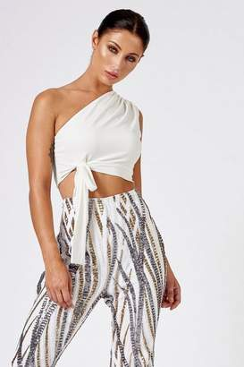 Club L **White One-Shoulder Knotted Crop Top