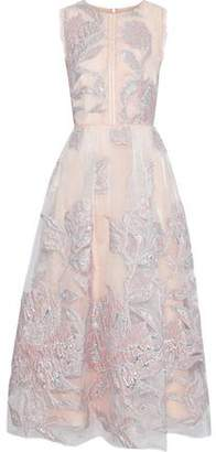 Marchesa Lace-trimmed Metallic Fil Coupe Organza Gown