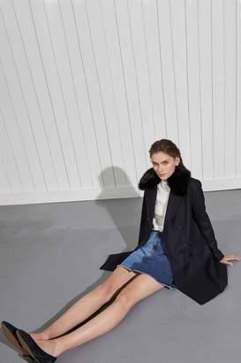 French Connection Platform Felt Faux Fur Collar Coat