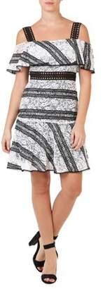 ABS by Allen Schwartz COLLECTION Women's Lace Flare Mini Dress