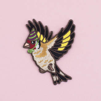 Birds in Hats Goldfinch In A Party Hat Iron On Embroidered Patch