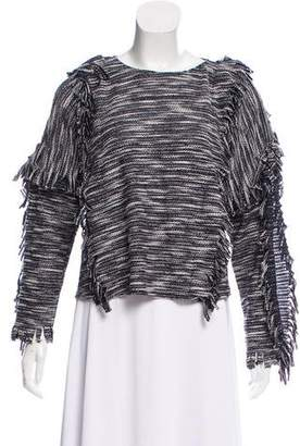 MISA Los Angeles Fringe-Trimmed Knit Sweater w/ Tags