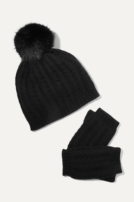 Portolano Faux Fur-trimmed Cable-knit Cashmere Beanie And Fingerless Gloves Set - Black