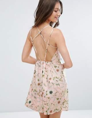 Asos Floral Print Strappy Back A-Line Sundress