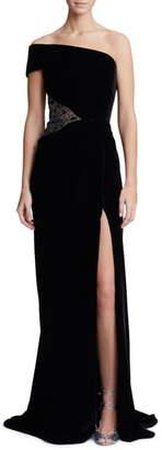 Marchesa One-Shoulder Velvet Gown
