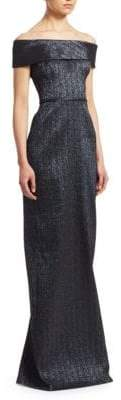 Teri Jon by Rickie Freeman Metallic Off-The-Shoulder Gown