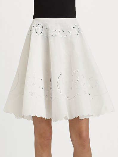 Behnaz Sarafpour Antique Embroidered Linen Skirt