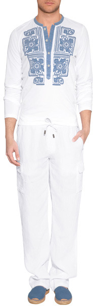 Vilebrequin Linen Cargo Pants in White