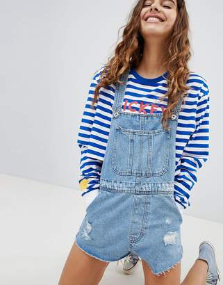 Bershka Denim Short Overalls