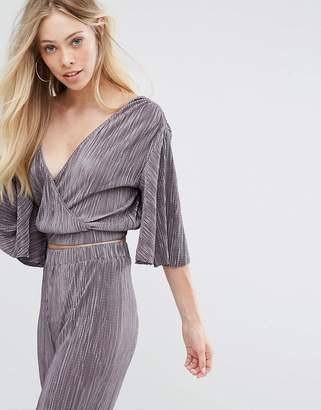 Oh My Love Pleat Batwing Top With Wrap Front