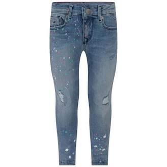 Tommy Hilfiger Tommy HilfigerGirls Blue Paint Spot Skinny Nora Jeans