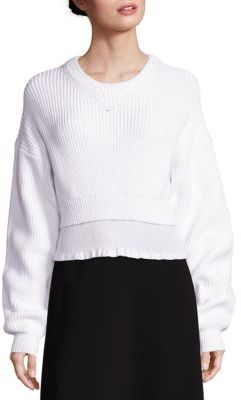 Alexander Wang Cropped Crewneck Ribbed Sweater $495 thestylecure.com