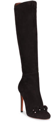 Alaia Black suede bombe knee boot