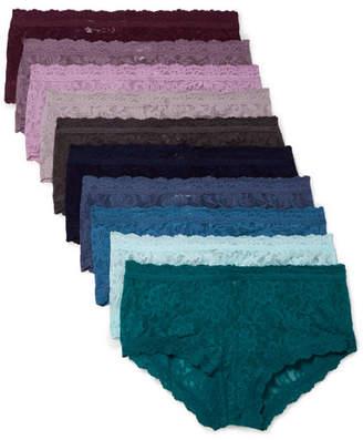 Hanky Panky Signature Set Of Ten Stretch-lace Boy Shorts - Blue