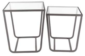 clear DecMode Decmode Set of 2 contemporary 18 and 20 inch glass square accent tables with gray iron closed legs, Clear, Gray
