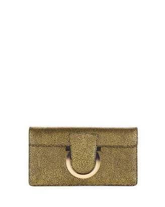 Salvatore Ferragamo Thalia Small Speckled Suede Cocktail Clutch Bag