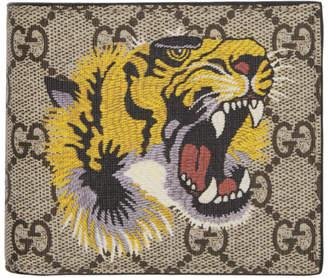 Gucci Beige GG Supreme Tiger Bifold Wallet