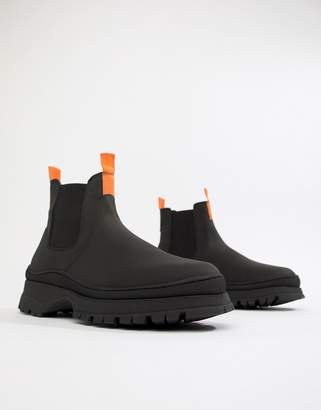 Asos DESIGN chelsea sneaker boots in black leather with chunky sole