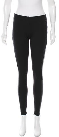 Theory Theory Low-Rise Leather-Trimmed Leggings