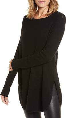 Halogen Shirttail Wool & Cashmere Boatneck Tunic