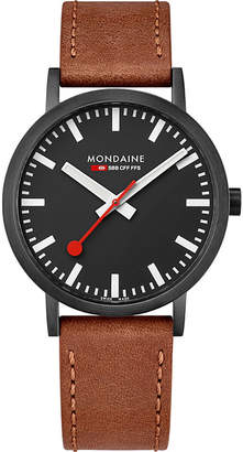 Mondaine A660-30360-64SBG SBB Classic leather and IP black stainless steel watch