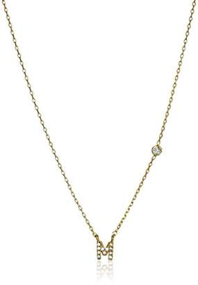 Tai Initial Pave M Chain Necklace