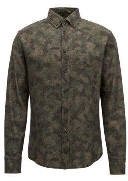 BOSS Hugo Slim-fit shirt in camouflage-print cotton twill M Dark Green