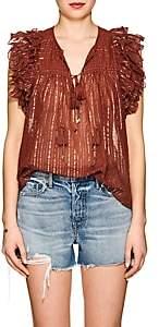 Ulla Johnson Women's Cora Striped Cotton-Blend Gauze Blouse-Brown
