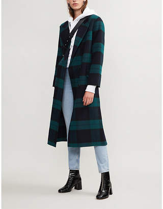Sandro Checked wool and cotton-blend coat