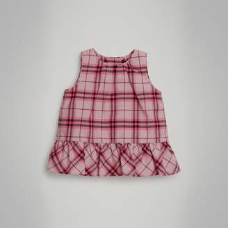 Burberry Childrens Ruffle Detail Check Cotton Top