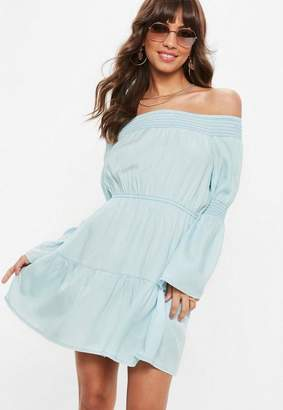 Missguided Blue Sheered Cold Shoulder Denim Dress