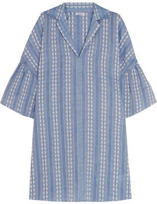 Splendid Dolman Cotton-jacquard Mini Dress - Blue