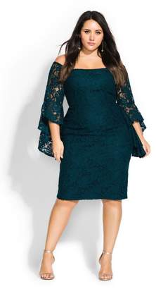 City Chic Citychic Mystic Lace Dress - emerald