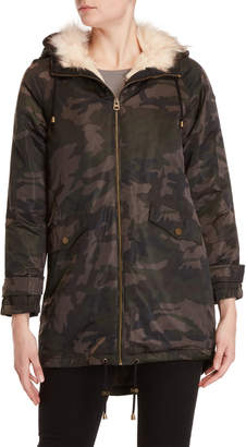 Lucky Brand Hooded Camouflage Coat