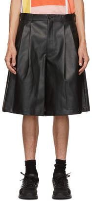 Comme des Garcons Black Faux-Leather Shorts