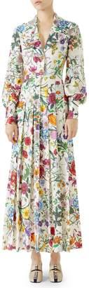 Gucci Puff Sleeve Pleated Silk Dress