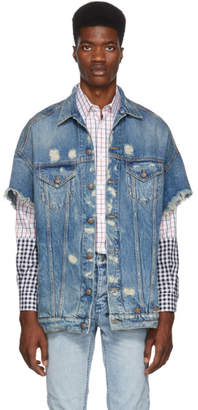 R 13 Blue Oversized Cut-Off Trucker Jacket