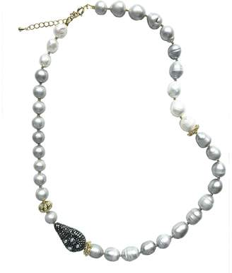 Farra - Gray Freshwater Pearls & Rhinestones Necklace