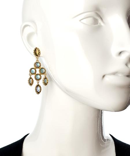 Blu Bijoux Gold And Ivory Chandelier Earrings