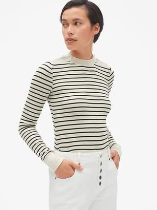 Gap Stripe Long Sleeve Button-Shoulder T-Shirt in Modal